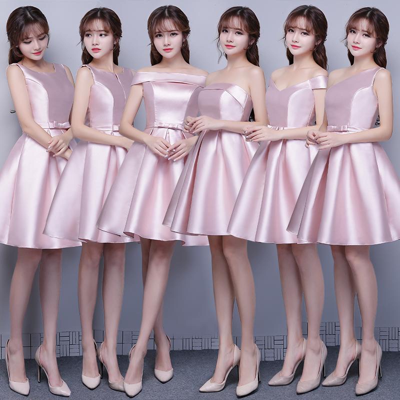 e322c8943001 Get Quotations · 2016 new summer jade powder summer short paragraph satin bridesmaid  dress mission sisters dress bridesmaid dress