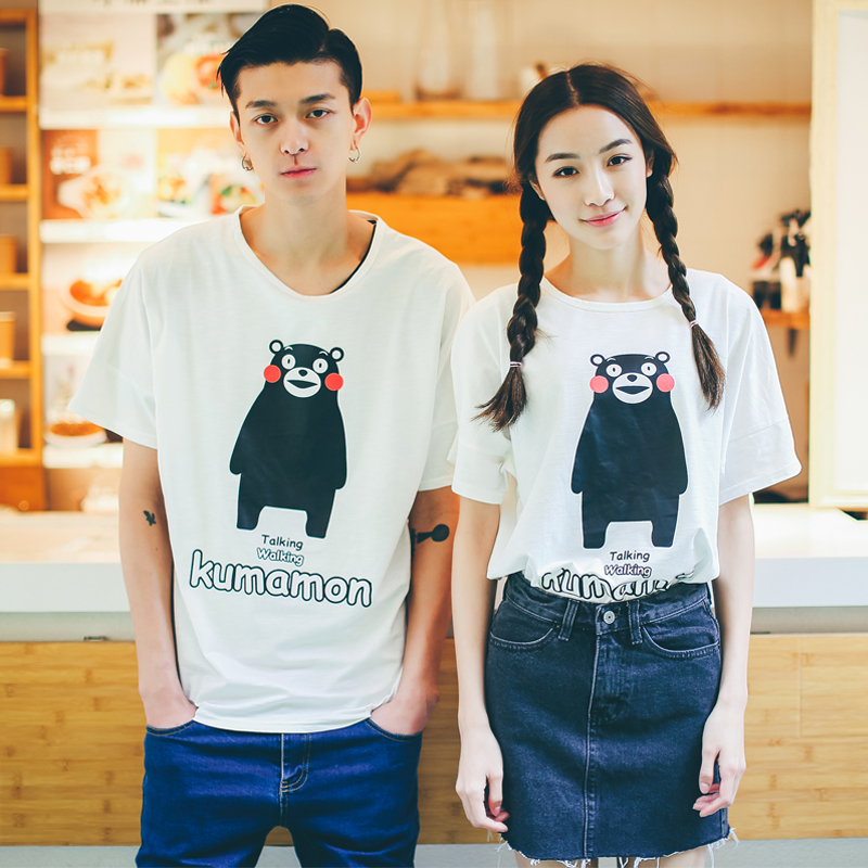 2016 new summer lovers cartoon short sleeve t-shirt tide korean men and women loose sleeve round neck casual t compassionate