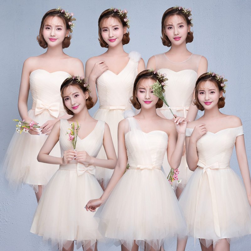 2016 new summer short paragraph bridesmaid dress champagne bridesmaid dress korean dress skirt sister group bridesmaid dress mini dress women