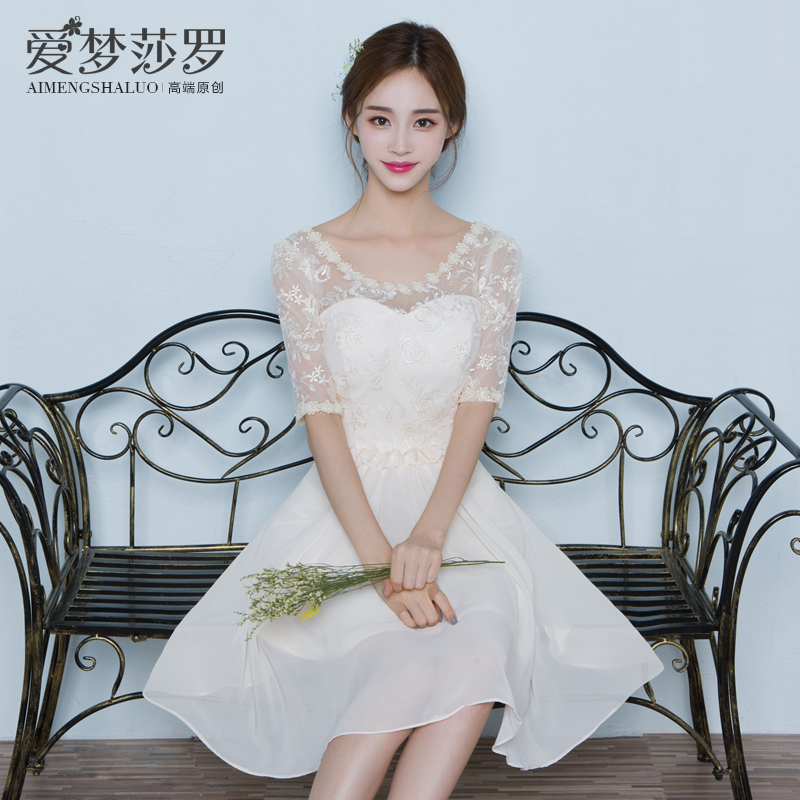 2016 new summer sleeve dress champagne bridesmaid dress short paragraph evening dress sisters graduation clothes female korean version was thin