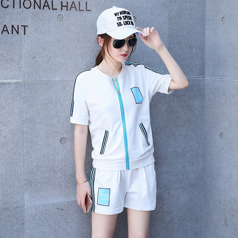 2016 new summer sports suit leisure sports suit leisure sports suit hooded coat ladies short sleeve