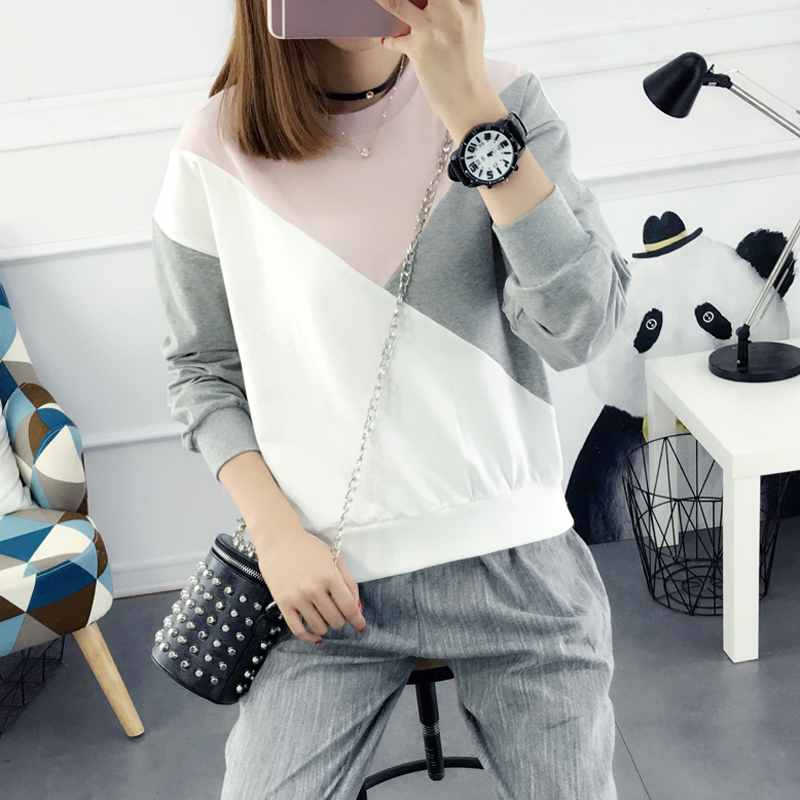 2016 new wave of clothes long sleeve sweater sweater fall and winter clothes women korean version spell color round neck t-shirt women autumn winter