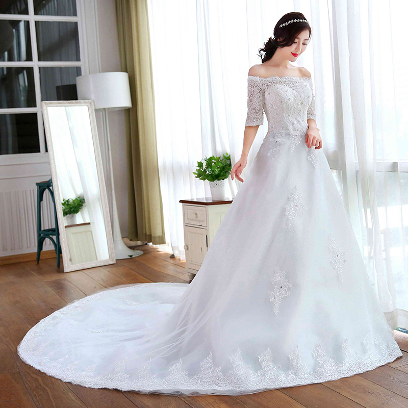 2016 new wedding dress bridal fashion word shoulder was thin lace long sleeve pull tail qi autumn and winter wedding