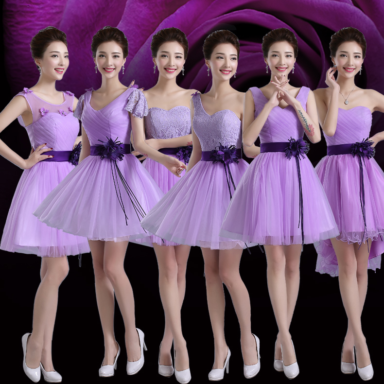 2016 new wedding dress purple bridesmaid dresses sister group bridesmaid dress short paragraph autumn and summer clothing big yards