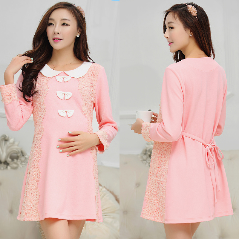 2016 of the new tianxi korean lace maternity dress pregnant women pregnant women skirt autumn and autumn pregnant women pregnant autumn coat