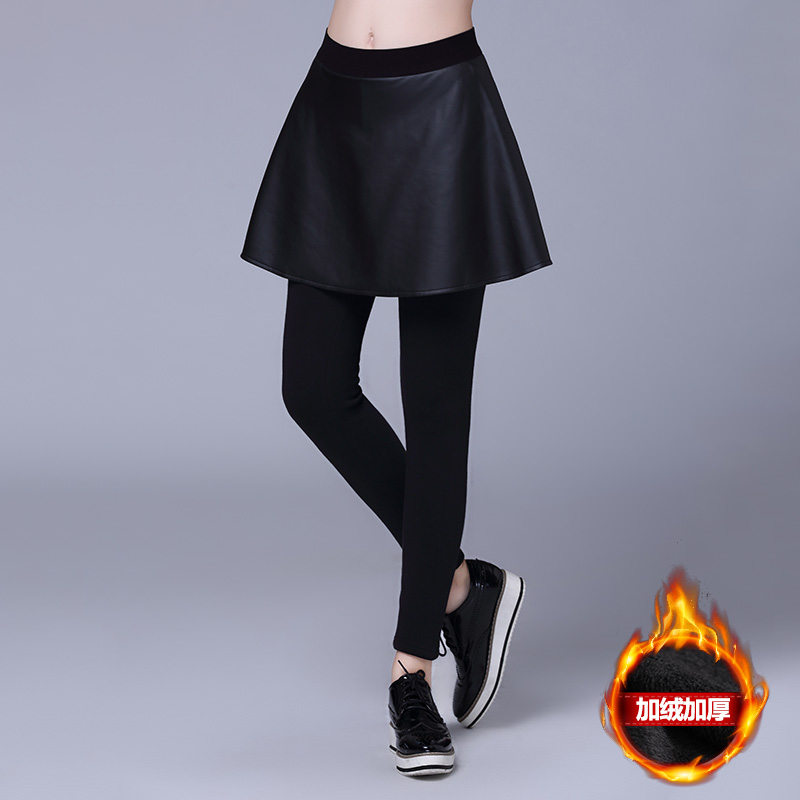 2016 plus fertilizer to increase size women fake two fat sister slim thin pu leather skirt plus thick velvet trousers