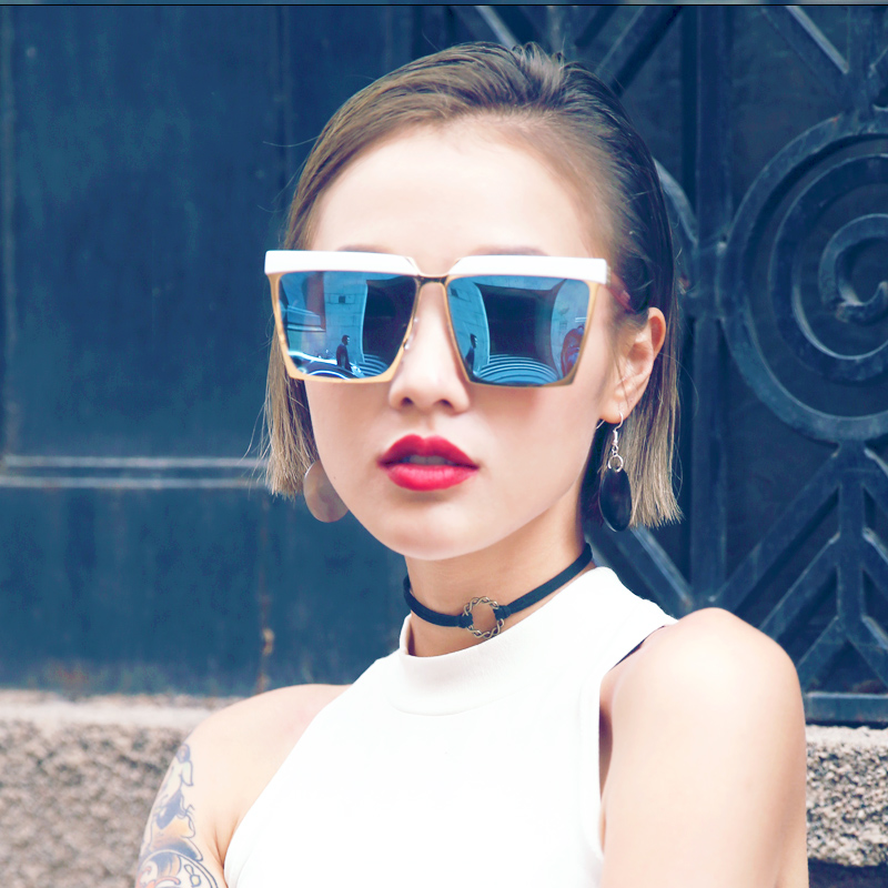 5ef128e68a Get Quotations · 2016 retro personality tide models eyebrow frame  sunglasses oversized sunglasses box repair face bright mirror sunglasses