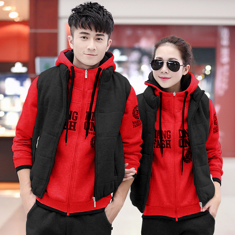 2016 spring and autumn and winter plus velvet three sets of casual sportswear sports suit lovers hooded cardigan large size sportswear for men and women