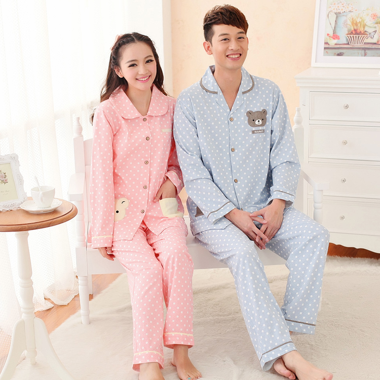 2016 spring and autumn long sleeve duijin series cartoon bear male and female couple lapel pin buckle open body knit cotton pajamas suit
