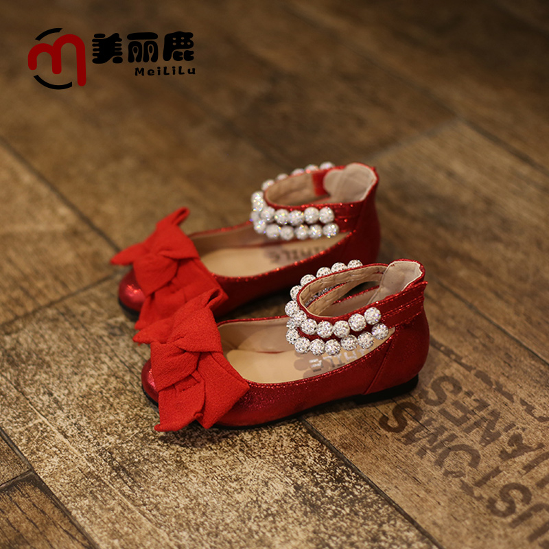 2016 spring and autumn new girls in children single leather shoes korean children princess shoes diamond bow shoes little red shoes