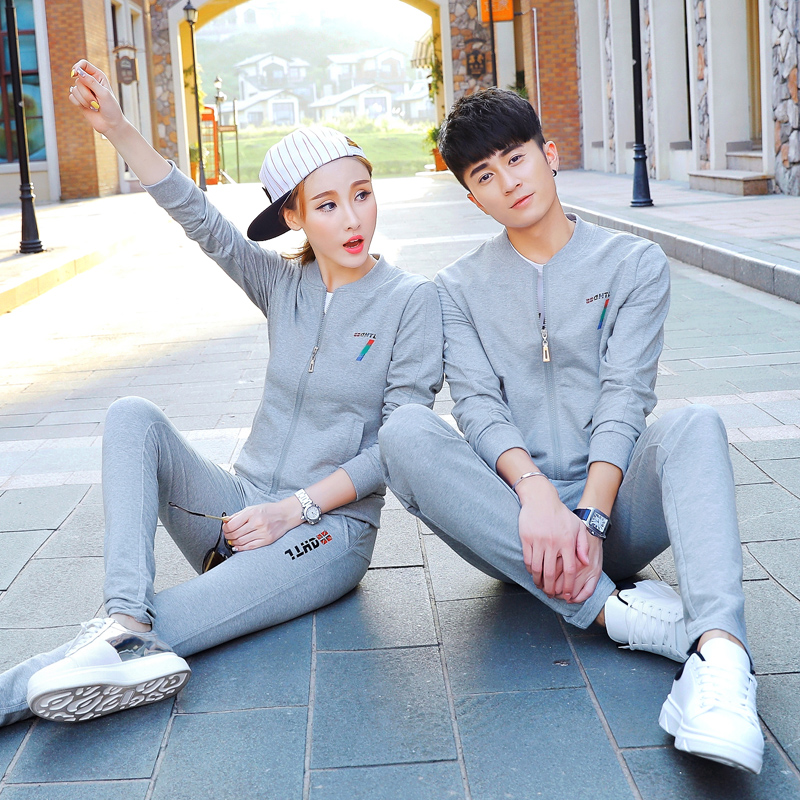 2016 spring and autumn new sports suit male couple sportswear sportswear autumn autumn leisure suit female autumn and winter