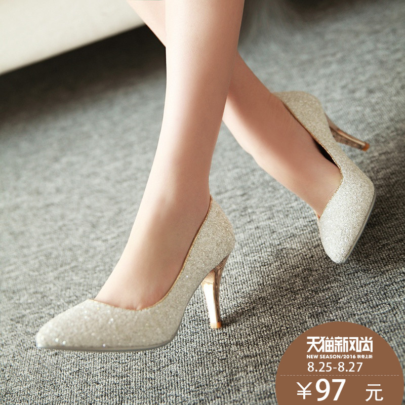 2016 spring and autumn new white bride bridesmaid wedding shoes sequined shoes crystal high heels fine with the heel shoes women