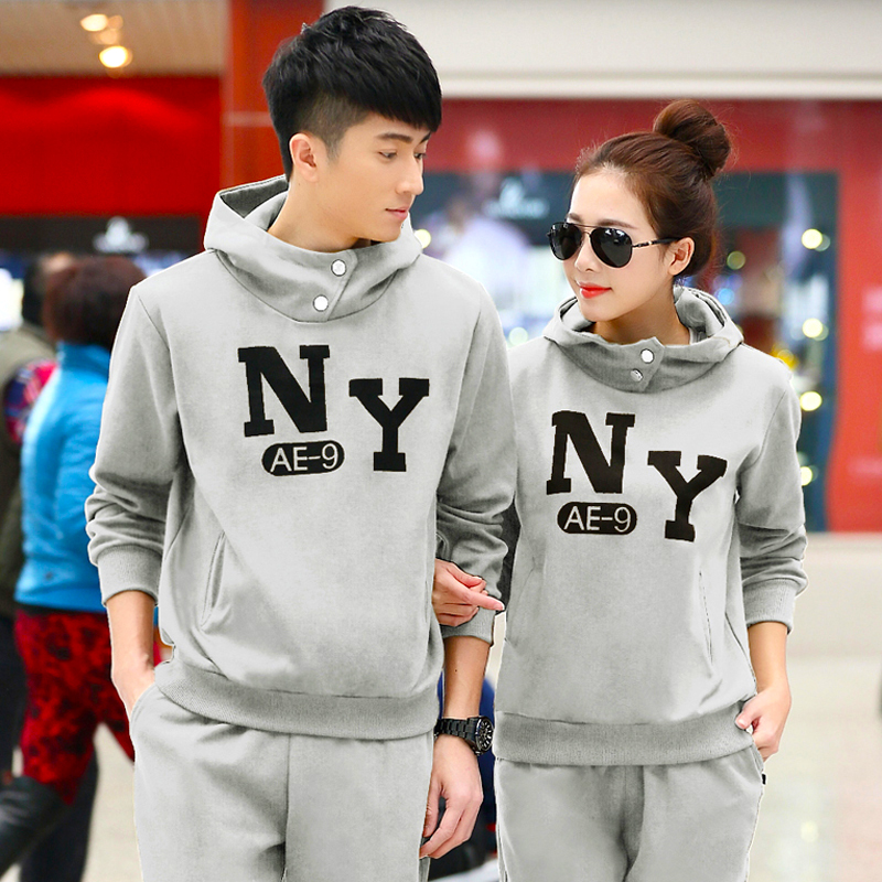 2016 spring and autumn sportswear lovers hooded track suit size code for men and women new casual clothes free shipping