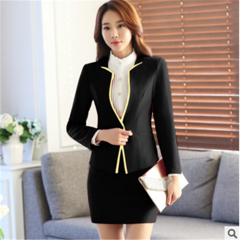 2016 spring and autumn wear white collar women being fitted skirt suit women's suits bank overalls uniforms