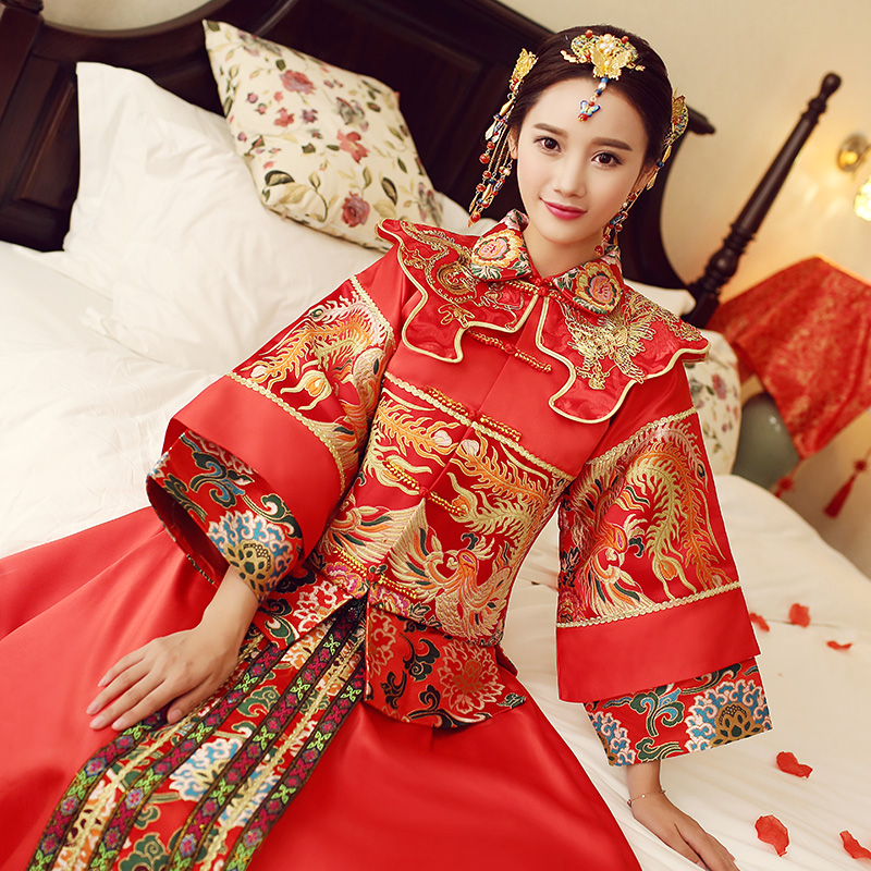2016 spring and summer clothing xiu chinese red flag dress wedding dress bride wedding toast clothing xiu xiu kimono dragon and phoenix gown gowns
