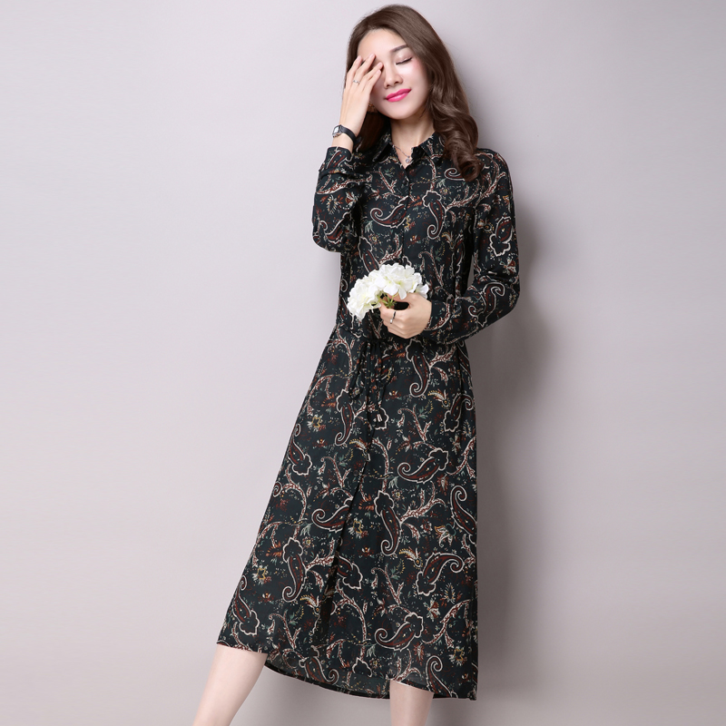 2016 spring and summer new long section of chiffon sun shirt long sleeve cardigan female temperament close waist printing thin coat