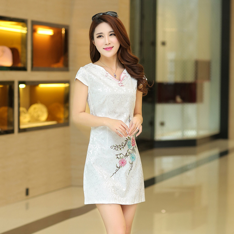 2016 spring and summer new retro fashion improved cheongsam dress national wind ladies cotton jacquard short paragraph cheongsam