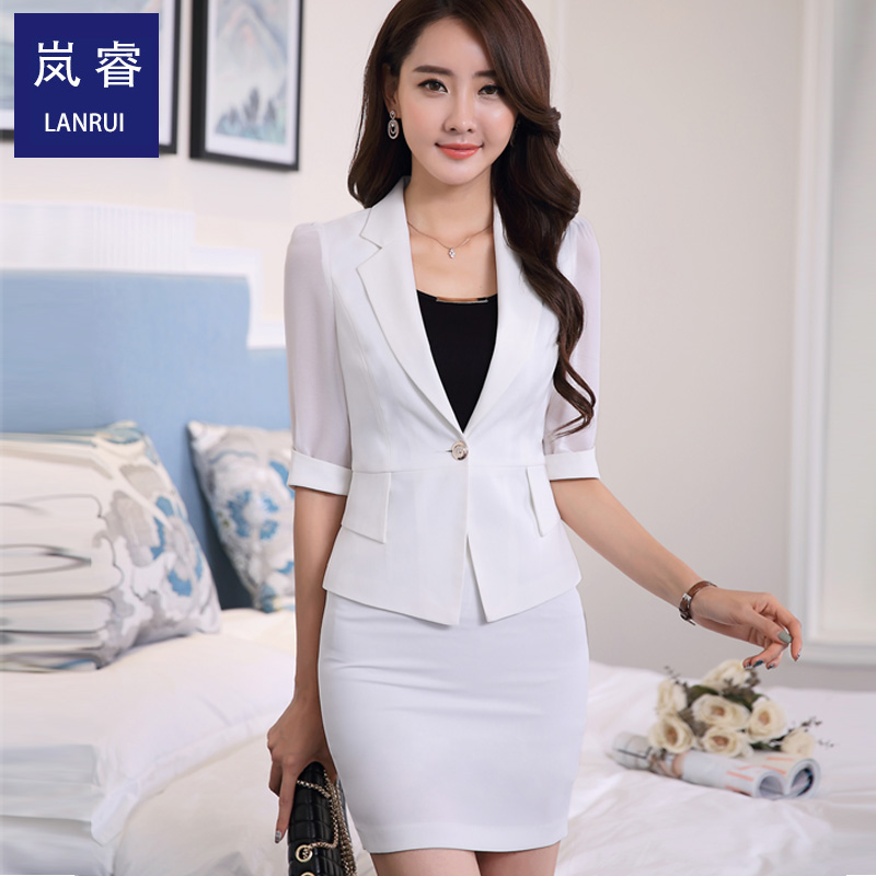 2016 spring and summer new women korean slim chiffon stitching small suit jacket sleeve career skirt was thin woman