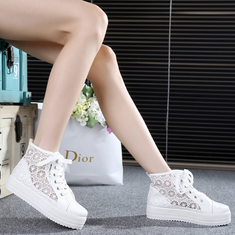 2016 spring and summer openwork lace high shoes canvas shoes female korean tidal thick crust within the higher platform shoes breathable shoes