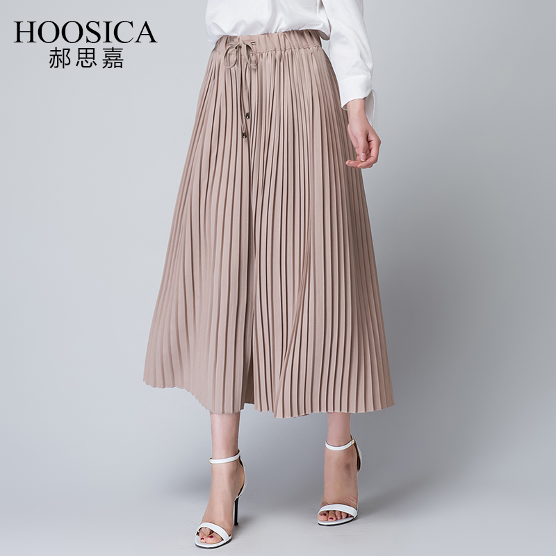 2016 spring and summer pants wide leg pants pantyhose snow spinning aristocratic ladies pleated skirts casual pants 9 pants