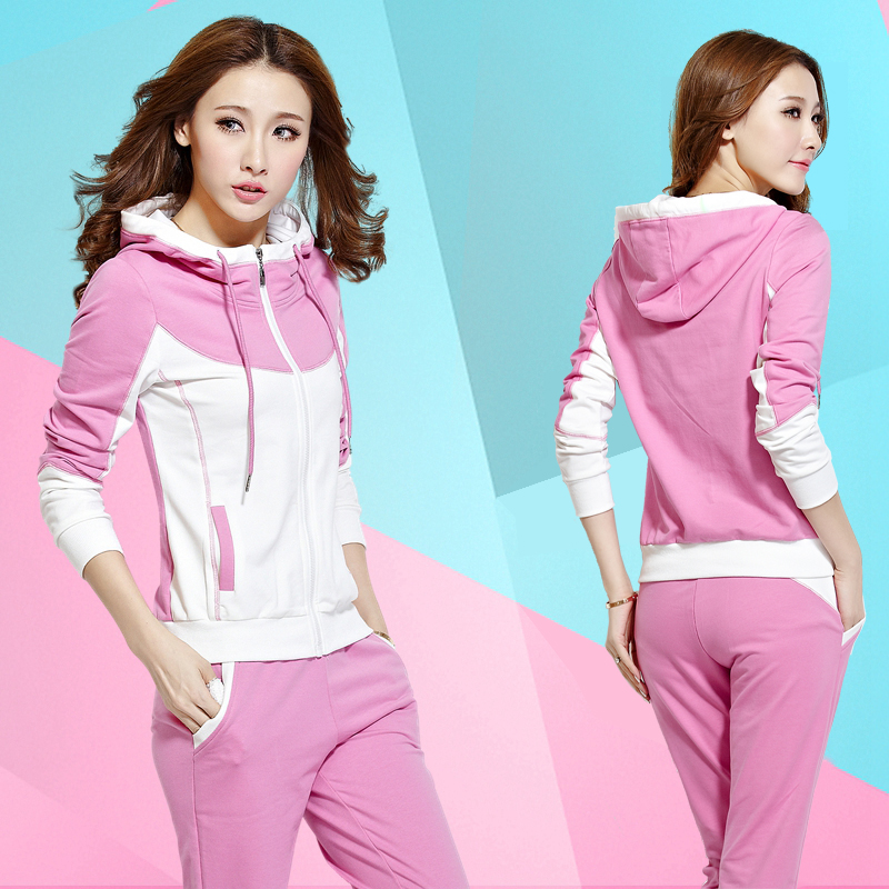 2016 spring and summer slim casual hooded track suit female models sweater suit sportswear suit female spring fashion