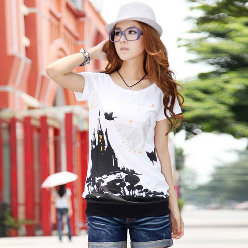 2016 spring and summer women new korean version of casual large size women fat mm large size women loose short sleeve t-shirt