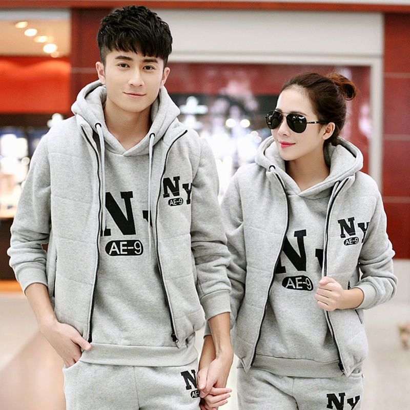2016 spring and winter new sweater three sets plus thick velvet sports suit casual sportswear for men and women
