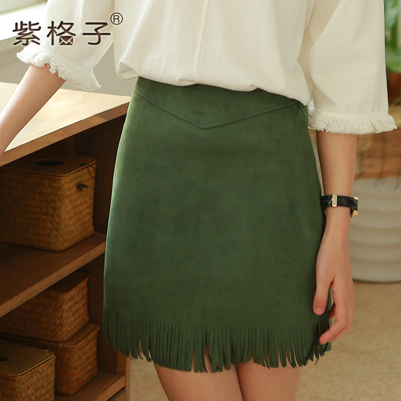 2016 spring new a word skirt korean institute of wind tassel solid color bag skirt skirts skirt package hip skirt spring