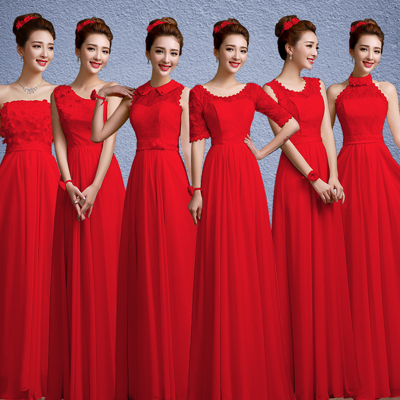 2016 spring new bridesmaid sister group wedding bridesmaid dress red evening dress long section sisters dress bridesmaid dress women dress