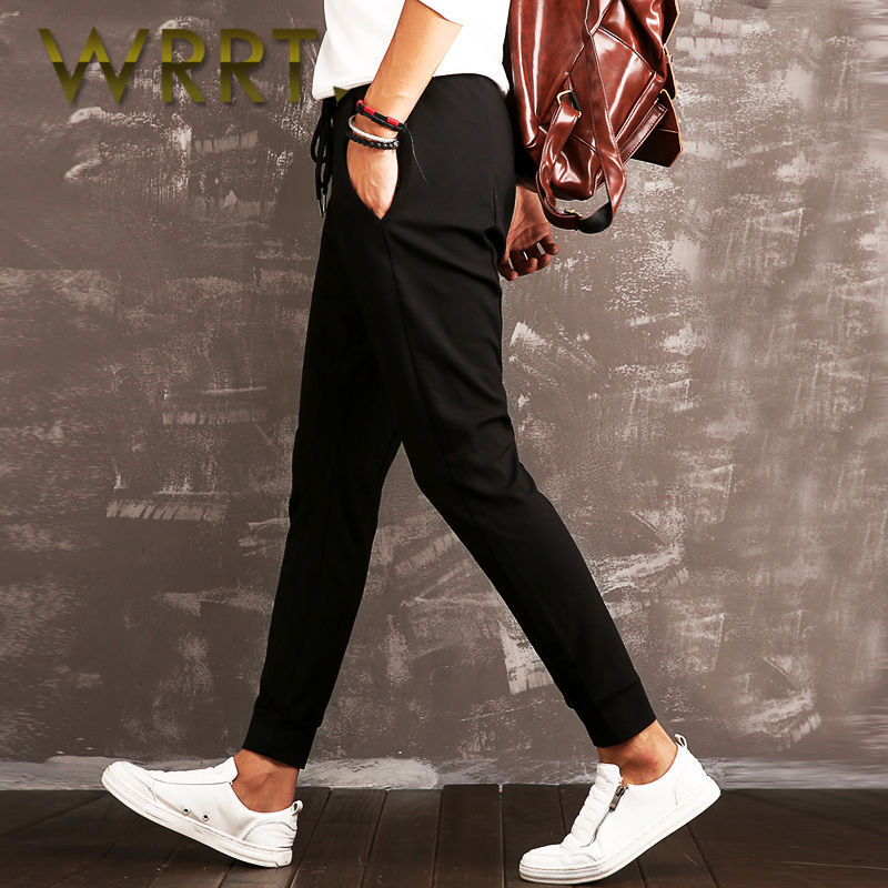 2016 spring new men's sports pants received wrrt loose fashion washed cotton casual trousers 6734