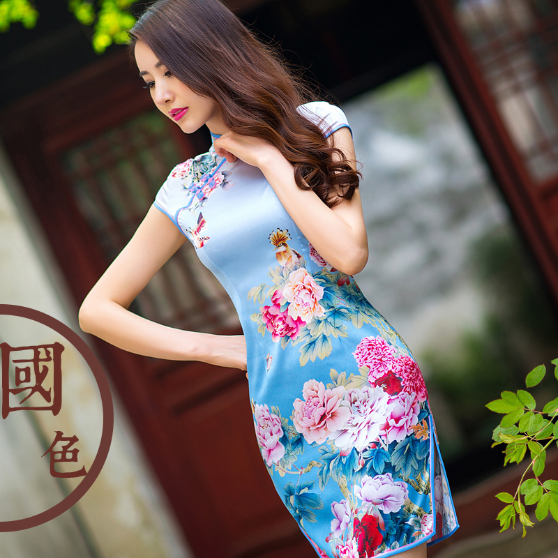 2016 spring new qp 95% mulberry silk cheongsam improved cheongsam dress slim retro short paragraph cheongsam dress