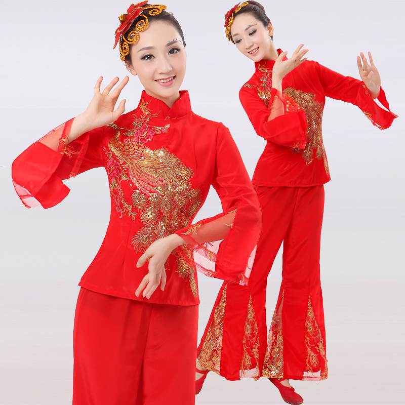 0e411544a Get Quotations · 2016 spring new red fan dance costumes dance clothing  dance clothes younger folk dance dance dance