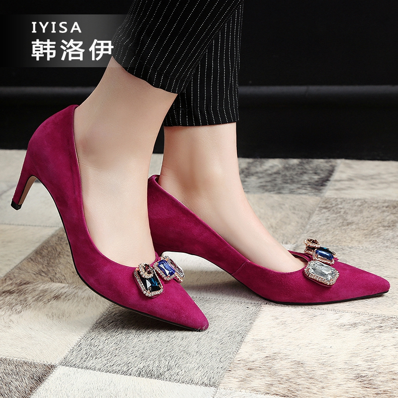 2016 spring new women's singles shoes sweet rhinestone sheep suede pointed shallow mouth fashion wild summer shoes with high heels