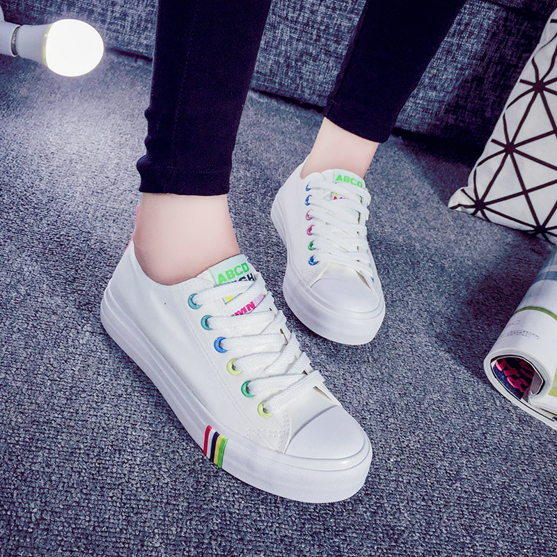 2016 summer korean version of the lace canvas shoes women shoes candy colored shoes casual shoes white shoes student shoes shoes shoes tide