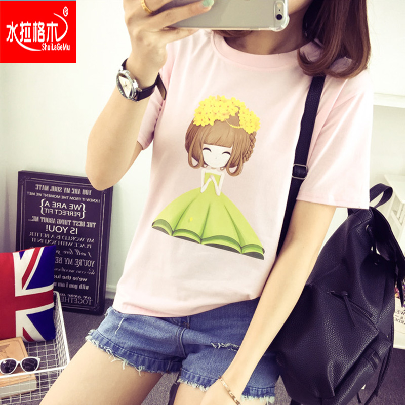 2016 summer korean version of the little girl cartoon loose round neck short sleeve cotton t-shirt printing fashion casual female high school students