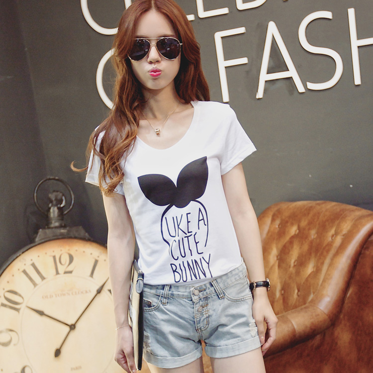 2016 summer korean version of the new cotton short sleeve t-shirt female loose sleeve shirt summer tide sell meng rabbit wear more beautiful!