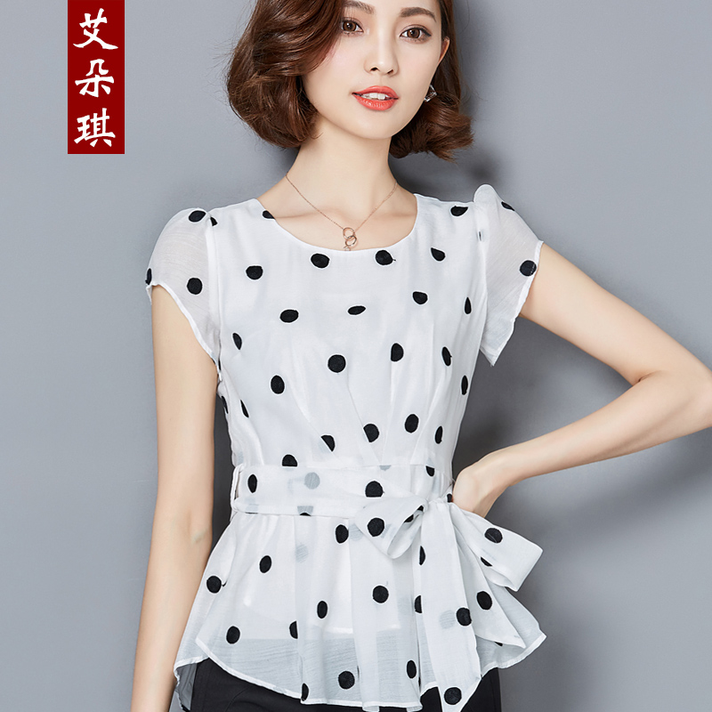 713c0397548 Get Quotations · 2016 summer korean version of the new fashion dot chiffon shirt  female short sleeve lace blouse