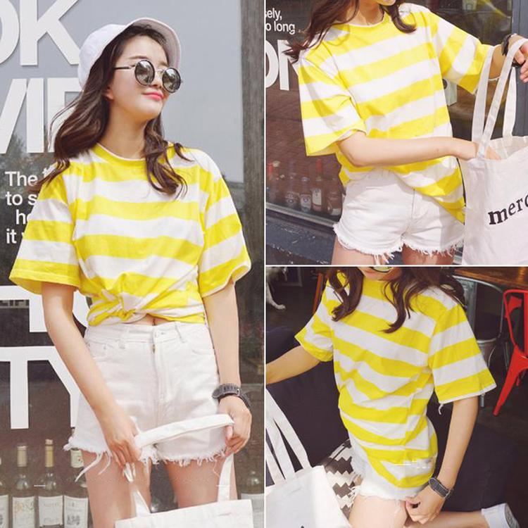 2016 summer korean version of the small fresh college wind needle stripe navy wind candy colored summer clothes short sleeve t-shirt female