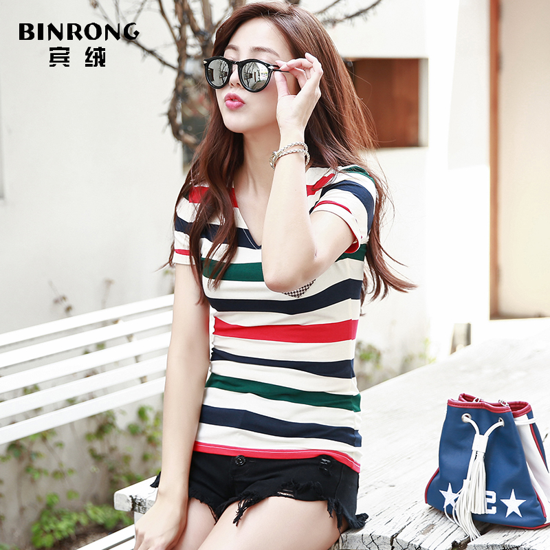 2016 summer korean version of the small girls cotton short sleeve v-neck xl slim thick horizontal striped t-shirt women's tide