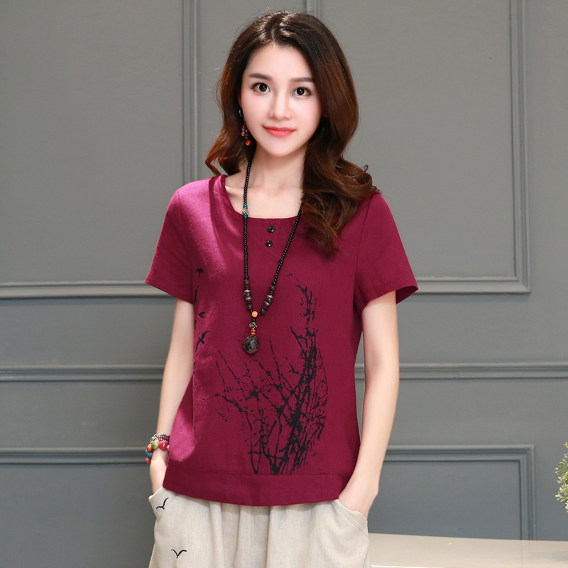 2016 summer linen embroidered short sleeve t-shirt female summer theatrical theatrical large size round neck linen shirt female loose
