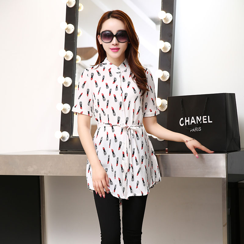 2016 summer long section of chiffon shirt blouse 2016 summer new korean women loose wild short sleeve shirt