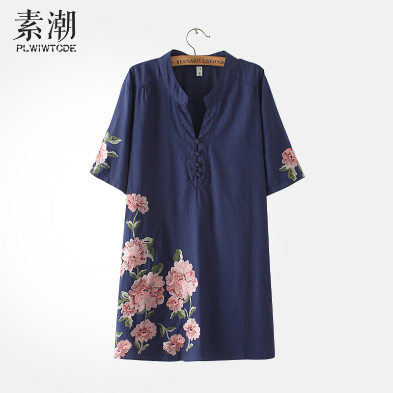 2016 summer long section of fertilizer to increase size women peony embroidered short sleeve t-shirt was thin loose dress