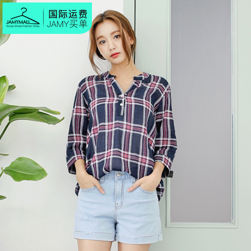 2016 summer new authentic korean classic fashion personality korean version of plaid shirt