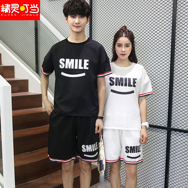 2016 summer new couple big yards short sleeve t-shirt fifth pants track suit leisure class service men and women students