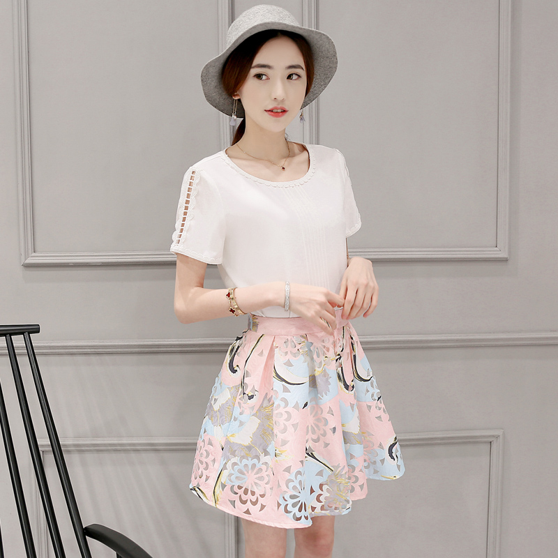2016 summer new fashion printed t-shirt piece fitted suit korean slim was thin thin section piece suit skirt