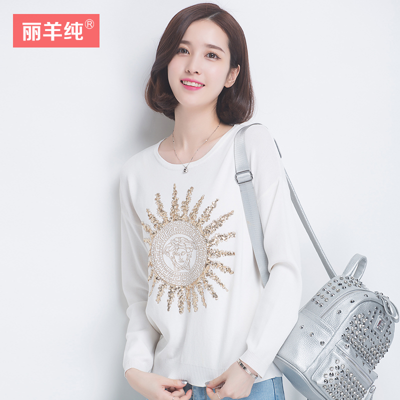 2016 summer new fashion sequined sweater female hedging sweater printing thin section round neck long sleeve blouse woman