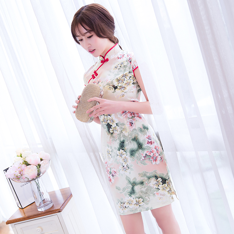 2016 summer new fashion short paragraph cheongsam dress slim improved cheongsam dress everyday fashion girl cheongsam
