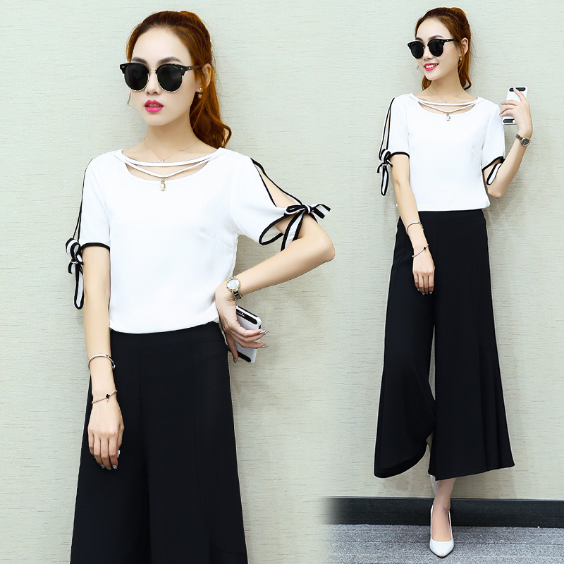 2016 summer new fashion short sleeve ladies temperament small fragrant wind halterneckmaxidress seven wide leg pants piece skirt suit female