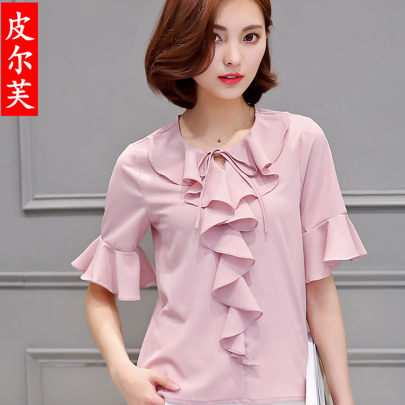2016 summer new fashion women's lotus leaf collar short sleeve shirt wild influx of women loose shirt short paragraph ol office