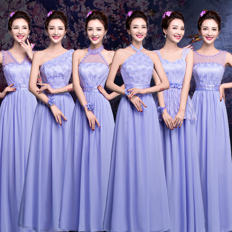 Get Quotations 2016 Summer New Group Bridesmaid Bride Purple Wedding Banquet Dress Long Section Sisters